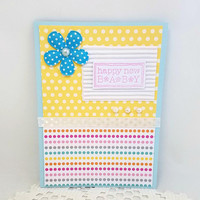 New Baby Card - Baby Shower Card - Yellow Baby Card - Welcome New Baby Card - Baby Congratulations - Blank New Baby Card - Polka Dots