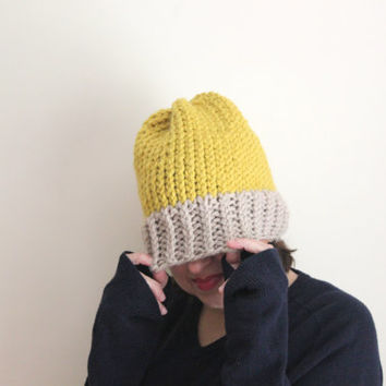 Taupe and Citron Knit Beanie, Chunky Knit, Neutral Colors, Cozy Accessories, Women's Beanies, Slouchy Beanie, Wool