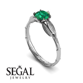 Unique Engagement Ring 14K White Gold Bamboo Leafs Vintage Green Emerald - Lily