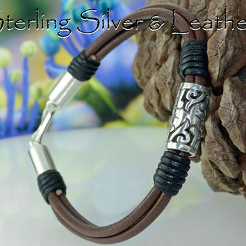 B-123 Aussie Made Sterling Silver & Leather New Sport Wristband Men Bracelet