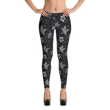 Boho Stars Black Leggings