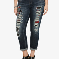 Premium Boyfriend Jean - Dark Wash with Plaid Destruction (Regular)