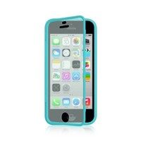 Carry360 For Apple iPhone 5C Colorful TPU Wrap Up Case Cover w/ Built in Screen Protector--blue