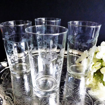 4 Vintage Vine & Leaf Etched Tumblers, Drinking Glasses for High Ball, Whisky Old Fashioned Juice Water, Glassware, Iced Tea Glass, Barware