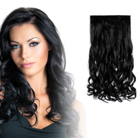 """20"""" Curly 3/4 Full Head Kanekalon Futura Heat Resistance Hair Extensions Clip on in Hairpieces 5 Clips"""