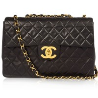 Chanel Vintage Black Quilted Leather Jumbo 2.55 Bag From Chanel Vintage Affairs