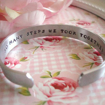 Hidden Message Pet Loss Quote Hand Stamped Cuff Bracelet Made To Order
