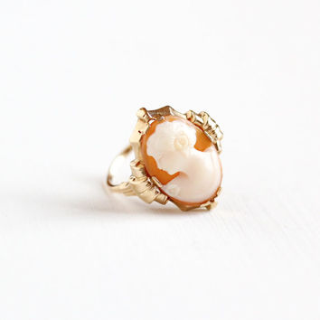 Vintage 10k Yellow Gold Cameo Ring - Size 7 1/2 Vintage 1930s 1940s Art Deco Carved Shell Esemco Fine Linear Embossed Jewelry