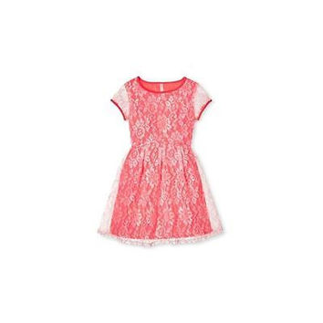 Xhilaration Girls' Lace Scuba Dress, Coral, X-Large
