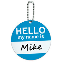 Mike Hello My Name Is Round ID Card Luggage Tag