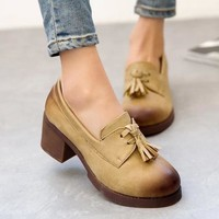 Summer England Style Vintage Round-toe Thick Crust Tassels Shoes [9432945994]
