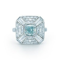 Tiffany & Co. -  Fancy Greenish Blue Diamond Art Deco Ring in platinum with white diamonds.