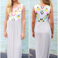 Easy Livin Abstract Heather Gray Maxi Dress