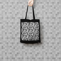 Geometric Black Tote Bag Pixels - Canvas Tote Bag - Printed Tote Bag - Market Bag - Cotton Tote Bag - Pixel Canvas Tote - Funny Tote Bag