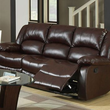 Yasmina Transitional Bonded Leather Recliner Sofa, Rustic Brown