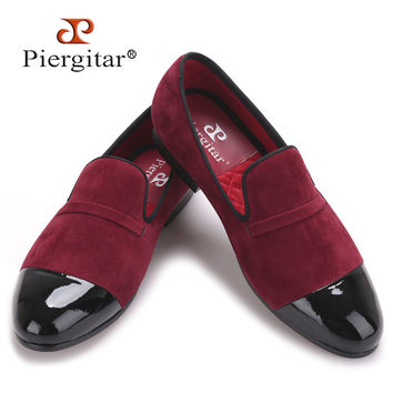 New style Handcraft men velvet shoes with black patent leather toe High-grade Party Prom and Banquet Men's