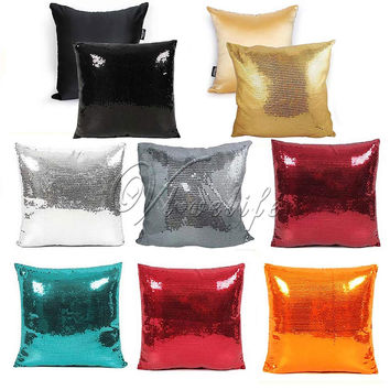 1pc 43cmx43cm Solid Color Glitter Sequin Pillowcase White/Black/Gold/Silver/Red Throw Pillow Pillowcover