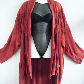 Reserved, please do not buy.....80s fringe duster jacket // dusty rose kimono cover up / short front long back // one size