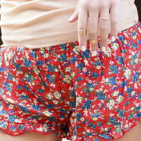 Short And Sweet Floral Print Coral Ruffle Shorts