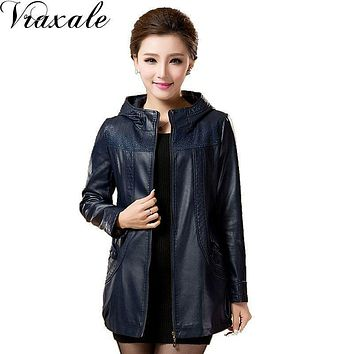 The new Spring 2017 fashion large size women hooded leather jacket pu medium-long windbreaker jacket big yards M-5XL