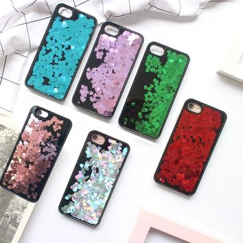 Love Heart Glitter sequins Phone Cases For iPhone 6 6S 7 7Plus 5 SE 5s Cool Black Back Cover