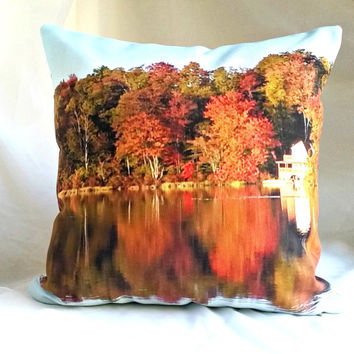 Perfect Reflection Throw Pillow, Red  Orange Yellow Pillow Cover and Insert,Cottage Chic Home Accent Pillow