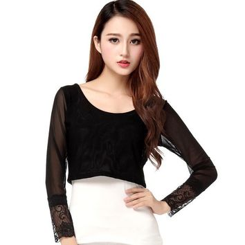 2016 Brand New Full Sleeve T-shirts Plus Size Female Chiffon Print Lace T shirts Crop Top O-neck Women t shirt 71119