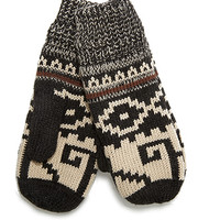 Fair Isle Pattern Mittens Grey/Tan One