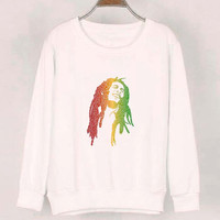 bob marley sweater White Sweatshirt Crewneck Men or Women for Unisex Size with variant colour