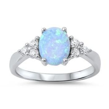 Sterling Silver Oval and Side Stones Ring 9MM Light Blue Lab Opal