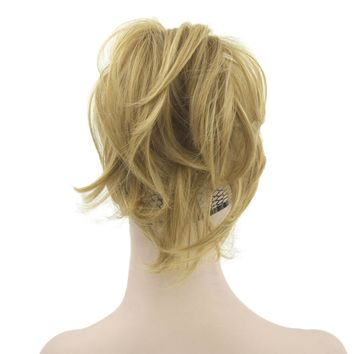 Soowee Short Synthetic Hair Claw Ponytails Gray Little Pony Tail Hair on Hairpins Fairy Tail Hair on Clips Hairpiece for Hair