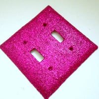 Double Light Switch Plate Cover--Hot pink glitter, sparkly