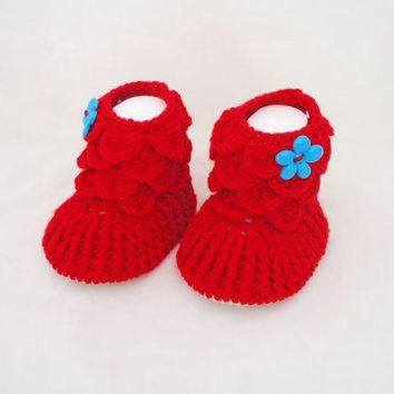 CHEN1ER Crochet Baby Booties, Baby Girls Booties, Ugg Booties, Red Booties, Crocodile Stitch B