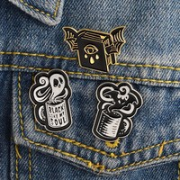 Trendy 3pcs/set Ghost Evil eye Book Bat Cup Brooch Black like my soul Coffee mug Enamel pins Buckle Denim jacket Shirt Lapel Pin Badge AT_94_13