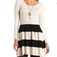 Striped Sweater Knit Skater Dress by Charlotte Russe - Oatmeal