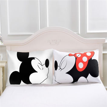 Mickey Mouse Pillowcase Valentine's Day Gift Body Pillow Case Cartoon 2Pcs/Pair