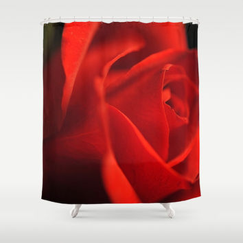 Glowing Red Rose Close Up Shower Curtain by Blooming Vine Design