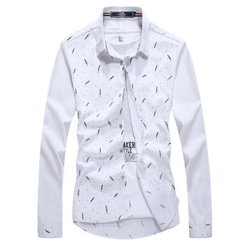 Mens Slim Feather Design Dress Shirt