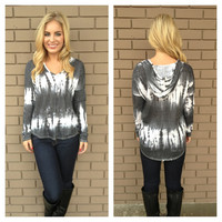 Grey Tie Dye Long Sleeve Hoodie Sweater Top
