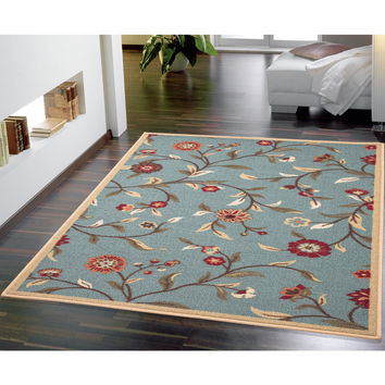 Ottomanson Ottohome Collection Sage Green Floral Garden Design Area Rug (8'2 x 9'10) | Overstock.com Shopping - The Best Deals on 7x9 - 10x14 Rugs