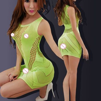 Sexy minidress crochet Fish Net Lingerie Babydoll dress Underwear Translucent Chemises Nightgown fluorescent green 6284