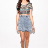 Pippa Aztec Print Cap Sleeve Crop Top - Clothing
