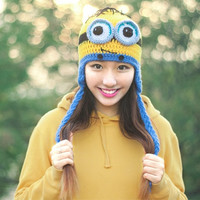 Handmade Crochet Minions Women Ear Warm Hat Knitted Cap Tail Beanie (Color: Blue) = 1958071044