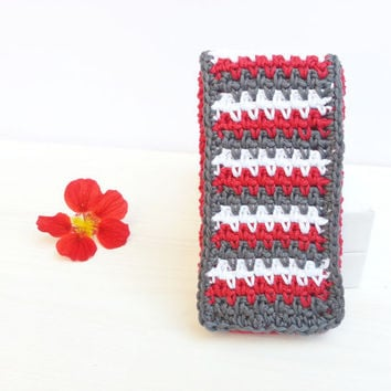 Interchangeabel  Frontflap for Handy-, Iphone-, Smartphone Case, crocheted, Samsung Galaxy S3, S4, S5 and Iphone 5