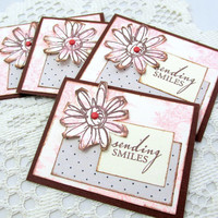 Small Note Cards - Set of 4 Cards - Pink and Brown Note Cards - Sending Smiles - Blank Note Cards - Floral Note Card Set - Floral Cards
