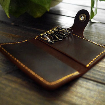 Free Engraving , Mens Key Holder , Slim Leather Key Holder Case , Custom Key Case , Personalized Leather Key Wallet , Brown Key Wallet