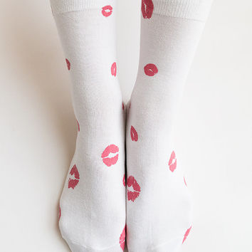 Women New Hezwagarcia Cutest Lip Lips Pattern Cotton Ankle White Socks Hosiery