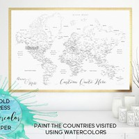 Custom quote world map print - World map with outlined countries, states and cities for marking your travels using watercolors