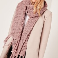 Missguided - Chunky Knit Tassel Scarf Pink