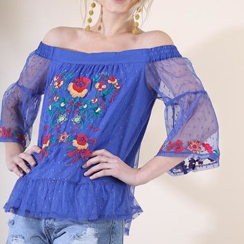Umgee Cobalt Off the Shoulder Blouse